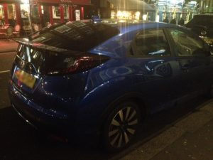Honda Civic 2011. Keys locked inside car. Wellington Street London WC2